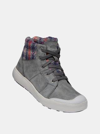 Šedé dámske kožené zimné topánky Keen