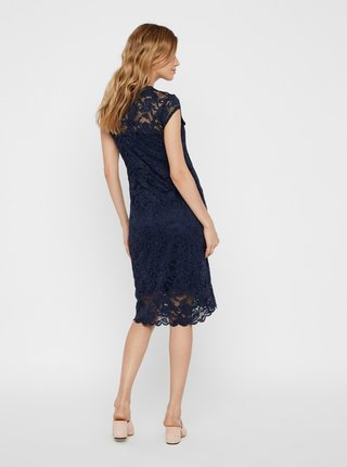 Tmavě modré těhotenské krajkové šaty Mama.licious