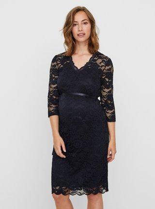 Tmavomodré tehotenské krajkové šaty Mama.licious