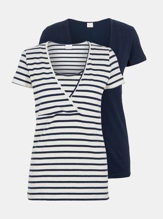 Sada dvou kojicích triček v bílé a modré barvě Mama.licious