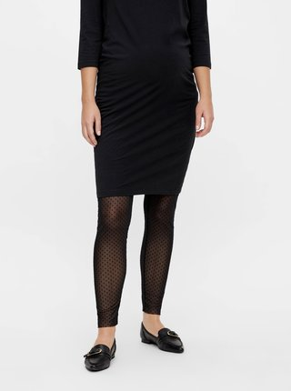 Černé těhotenské vzorované punčochové legíny Mama.licious
