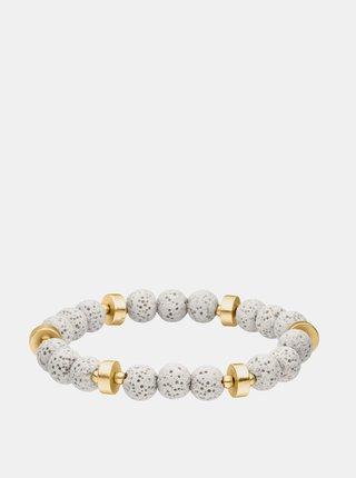 Náramek s korálky v bílé a zlaté barvě Tamaris