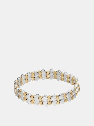 Náramok s korálkami v bielej a zlatej farbe Tamaris