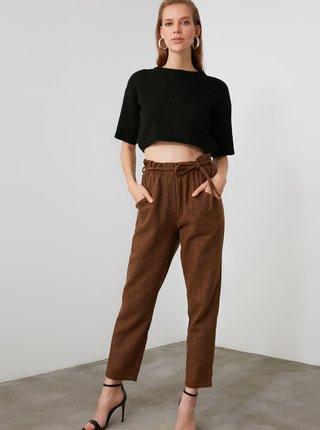 Hnědé dámské zkrácené kalhoty s příměsí vlny Trendyol
