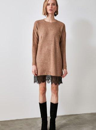 Hnedé svetrové šaty s krajkou Trendyol