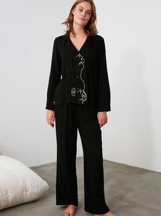 Čierne dámske pyžamo Trendyol
