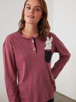 Fialové dámské pyžamo Trendyol