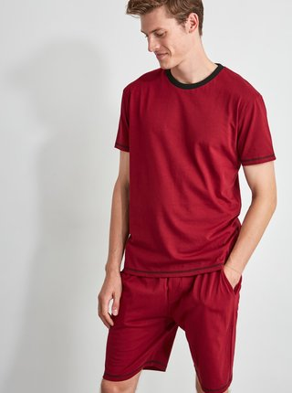 Vínové pánské pyžamo Trendyol