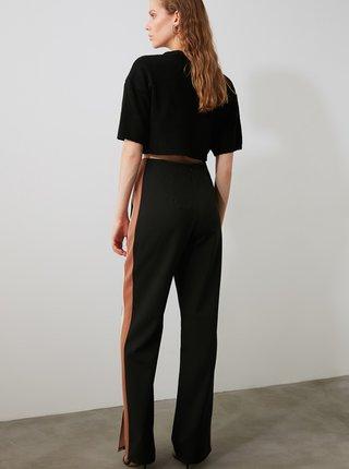 Černé dámské kalhoty s lampasem Trendyol