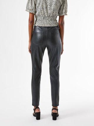 Černé koženkové kalhoty Dorothy Perkins Petite