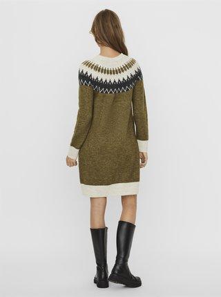 Khaki vzorované svetrové šaty VERO MODA
