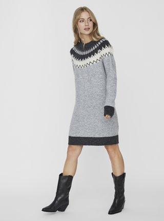 Šedé vzorované svetrové šaty VERO MODA Simone