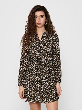 Černé květované košilové šaty ONLY Cory