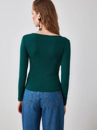 Tmavě zelené dámské tričko Trendyol