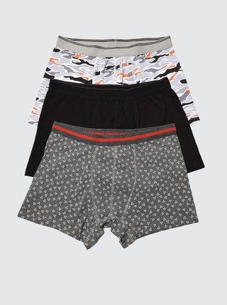 Sada troch vzorovaných boxeriek v čiernej a šedej farbe Trendyol
