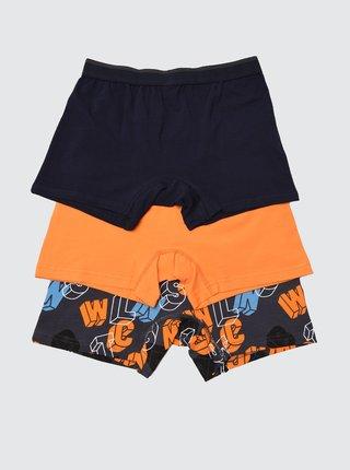 Sada troch boxeriek v čiernej a oranžovej farbe Trendyol