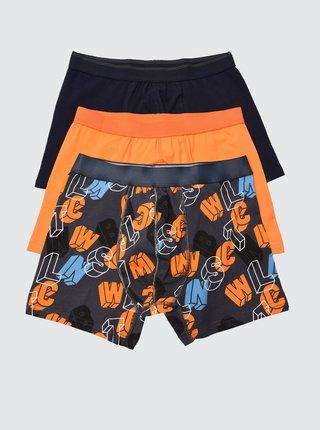 Sada tří boxerek v černé a oranžové barvě Trendyol