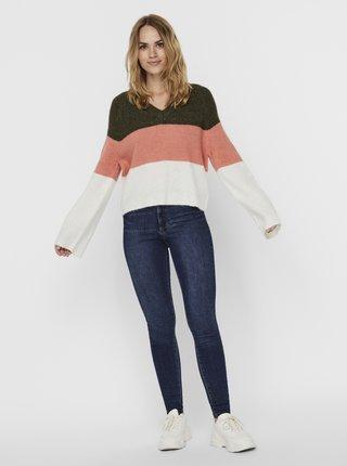 Růžovo-khaki svetr Noisy May Mimi