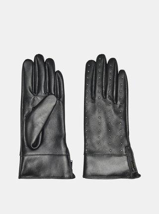 Čierne kožené rukavice ONLY
