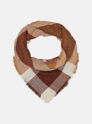Hnědo-vínový kostkovaný šátek ONLY-Aldini