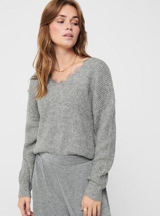 Šedý sveter s krajkou na chrbte ONLY