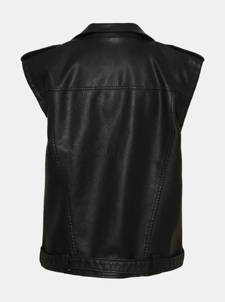 Čierna koženková vesta Noisy May Cazzy