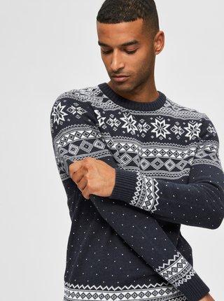 Tmavomodrý sveter s vianočným motívom Selected Homme