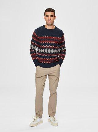 Modrý vlnený sveter Selected Homme