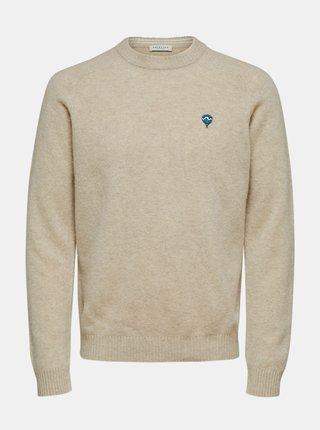 Béžový vlněný svetr Selected Homme