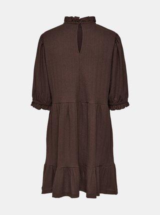 Hnedé voľné šaty so stojáčikom ONLY