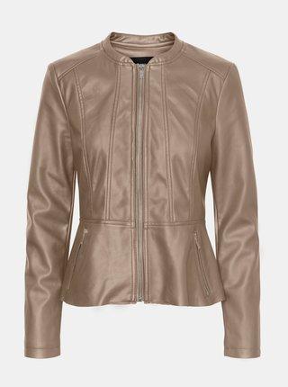 Béžová koženková bunda VERO MODA Butteralba