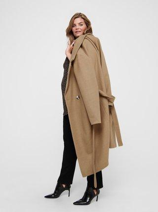Hnědý kabát s příměsí vlny ONLY CARMAKOMA