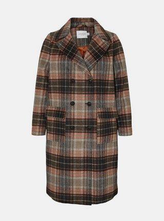 Hnědý kostkovaný vlněný kabát JUNAROSE Carol