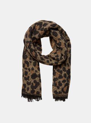 Hnedý vlnený šál s leopardím vzorom VERO MODA sassy