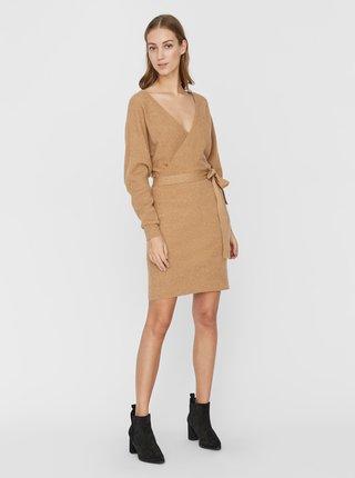 Hnědé svetrové šaty VERO MODA Rem