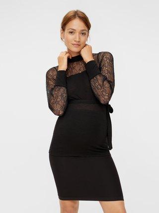 Čierna tehotenská blúzka s krajkou Mama.licious