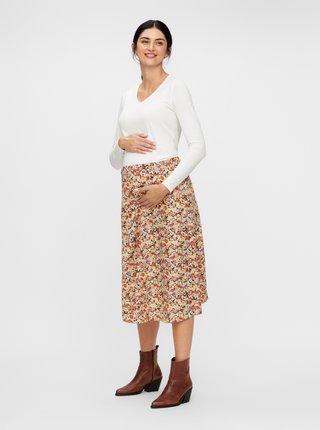 Béžová květovaná těhotenská sukně Mama.licious