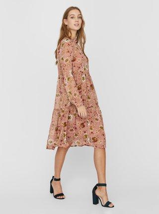 Růžové květované šaty VERO MODA Cille