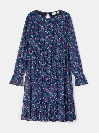 Modré dievčenské kvetované šaty name it