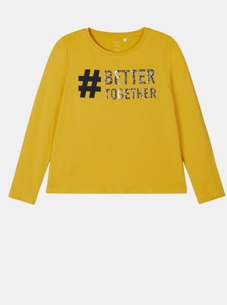 Žluté holčičí tričko s potiskem name it