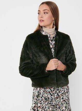 Tmavozelená bunda z umelého kožúšku Jacqueline de Yong