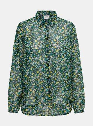 Zelená květovaná průsvitná košile Jacqueline de Yong