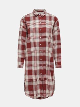 Hnědé kostkované košilové šaty Jacqueline de Yong
