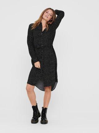 Černé puntíkované košilové šaty Jacqueline de Yong