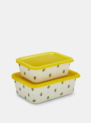 Sada dvoch krémovo-žltých bambusových krabičiek Cooksmart