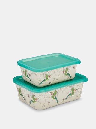 Sada dvou krémovo-zelených bambusových krabiček Cooksmart