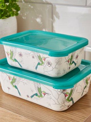 Sada dvoch krémovo-zelených bambusových krabičiek Cooksmart