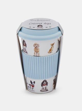 Bielo-modrý cestovný hrnček s potlačou psov Cooksmart