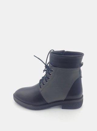 Šedomodré dámské kožené kotníkové boty WILD