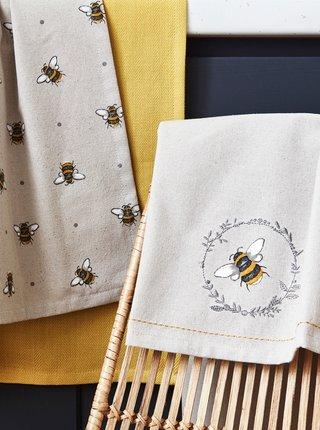 Sada tří šedých kuchyňských utěrek s potiskem včel Cooksmart
